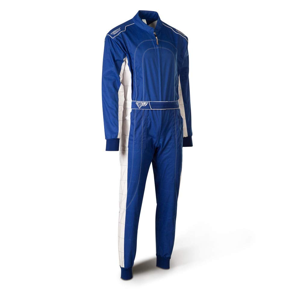 XXL Bleu avec Blanc- Karting Suit Bi-Couleur Speed Kart Combination
