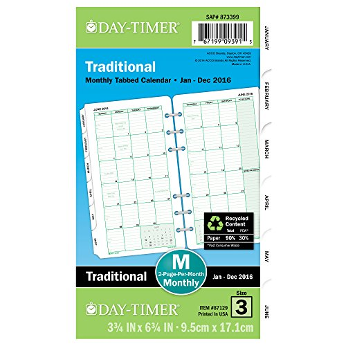 Day-Timer Monthly Refill 2016, 12 Months, Loose-Leaf, Portable Size, 3.75 x 6.75 Inches, Classic (87129)