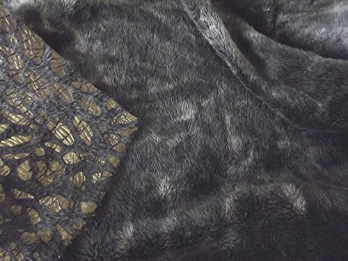 1Mtr 150cmx100cm Double Sided Supersoft Cuddlesoft Minky Fabric Material  MUILT BLACK LEOPARD
