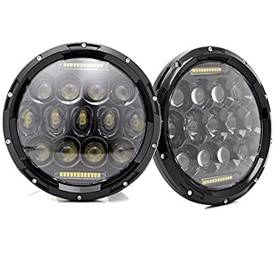 CXD 7 Inch Jeep Wrangler Round Led Headlights with DRL Hi/lo Beam DOT for Jk Tj LJ Dodge replacement Daymaker Hummer H1&H2 Acura Honda Mazda Toyota Pontiac Head Lamp With H4 Plug H4-H13 Adapter