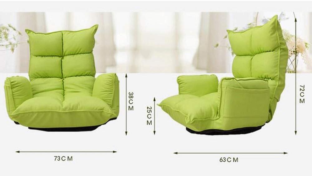 RUNWEI Poltroncina Multifunzione, Poltrona Girevole, Poltrona Pieghevole Tatami sofà Pigro (Color : Pink) Green