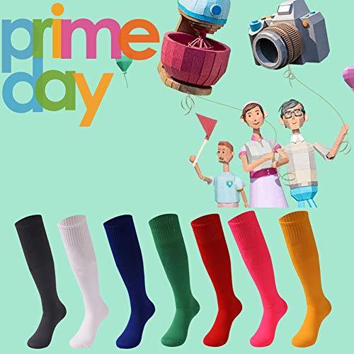 - saounisi Women Cheerleading Socks ,6 Pairs Knee High Dress Socks Sprite Football Soccer Sports Team Socks Size 9-13 Orange