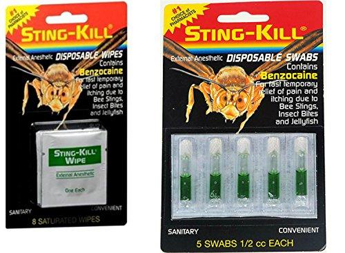 Sting-Kill Disposable Swabs (5 per pack) & Wipes (8 per pack) Bundle