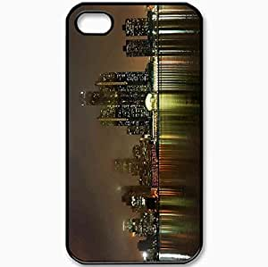 Protective Case Back Cover For iPhone 4 4S Case Detroit Michigan USA America Night View Black