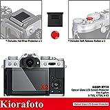 Kiorafoto 2 Pack Optical Tempered Glass Screen Protector + Red Convex Surface Camera Shutter Release Button Cap + Hot Shoe Cover Cap for Fujifilm Fuji X-T10 X-T20 X-E3 Camera