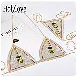 Holylove Pineapple Body Chain Bikini Bra Set Underwear Jewelry Sexy for Women Summer Hawaiian Beachwear Pool Dance Party Clubwear with Gift Box - BN17 Gold