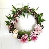 elegantstunning Artificial Silk Clothe Rattan Wreath Door Hanging Decoration Holiday Festival Wedding Decor,Pink