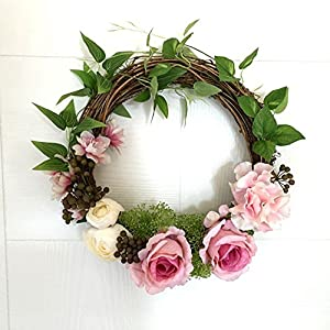 Adeeing 12 Inches Floral Artificial Rose Green Leaves Flower Rattan Wreath Door Hanging Wall Window Decoration Holiday Festival Wedding Decor, Pink 2