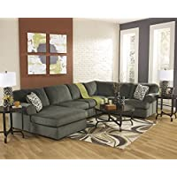 3 pc Jessa Place II collection Pewter fabric upholstered sectional sofa with chaise and rounded arms