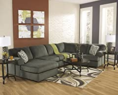 """3 pc Jessa Place II collection Pewter fabric upholstered sectional sofa with chaise and rounded arms. This set includes the sofa, armless love seat and chaise and features rounded arms. Sectional measures 92"""" x 143"""" across the back x 38"""" D x ..."""