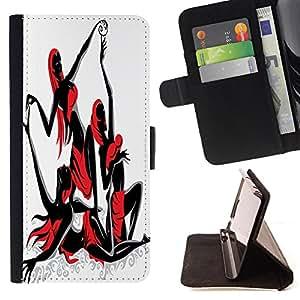 King Case - FOR LG OPTIMUS L90 - We'll Dance - Prima caja de la PU billetera de cuero con ranuras para tarjetas, efectivo Compartimiento desmontable y correa para la mu?eca
