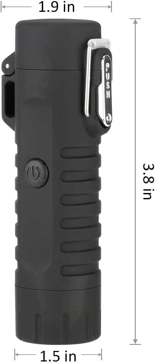 USB Encendedor Recargable con Linterna Qimaoo Mechero El/éctrico Impermeable sin Llama Plasma Encendedor para Acampada Cocina Cigarrillos Velas Encendedor Electrico Doble Arco