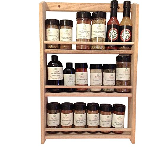 (EmejiaSales Oak Spice Rack Wall Mount Organizer 3 Tier, Solid Oak Wood With Natural Finish, Seasoning Storage for Pantry and Kitchen - Holds 18 Herb)