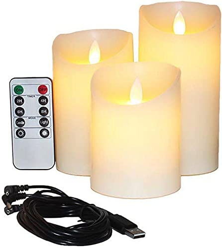 Flameless Candles Electric with Rechargeable Battery Autbye 2019 Advanced Edition Extra Bright Ivory Dripless Real Wax Pillars LED Smart Candle Flickering with 10-Key Remote Control 3 Pack