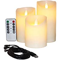 """Flameless Candles Electric with Rechargeable Battery (Autbye 2018 Advanced Edition) Extra Bright Ivory 3 Pack 4"""" 5"""" 6…"""