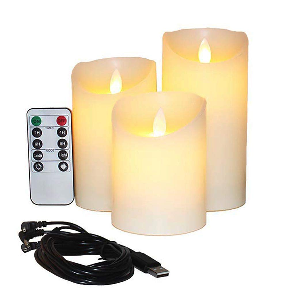 Flameless Candles Electric with Rechargeable Battery (Autbye 2018 Advanced Edition) Extra Bright Ivory 3 Pack 4'' 5'' 6'' Dripless Real Wax Pillars LED Smart Candle Flickering with 10-Key Remote Control