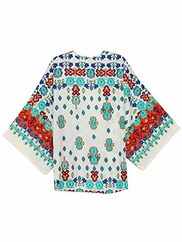 Persun Women White Vintage Floral Bat Sleeve Chiffon Loose Kimono Coat