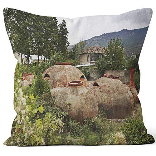 Nine City Big kvevri in Mtskheta Georgia Sack Burlap Pillow,HD Printing Square Pillow - Georgia Pillowcase Tech