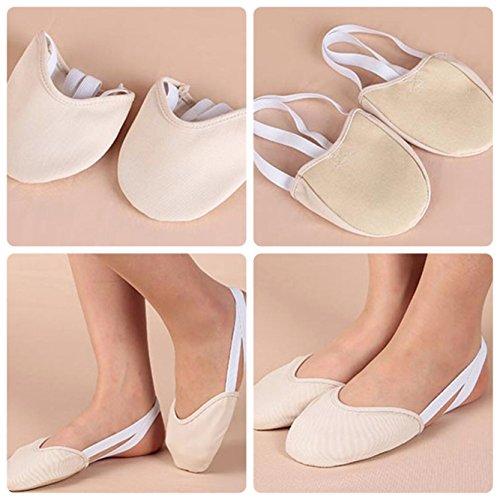 Dancer Flat Ballet Dance for Sole Slipper Daily Class and Half Sock Shoe Gymnastic Practice Rhythmic Beige Toe wAq8xXXz