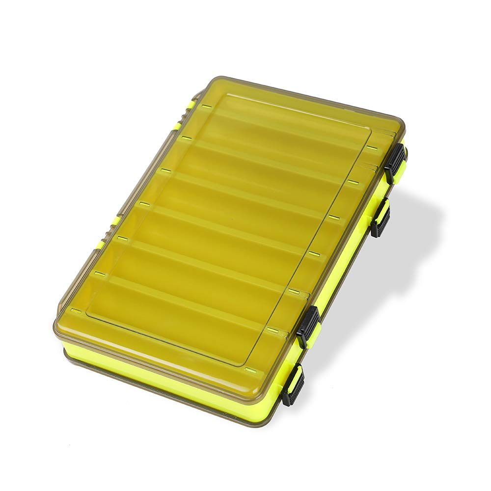 King wow Fishing Lure Box Double Sided Tackle Storage Trays Fishing Tackle Storage 14 Compartment Waterproof Visible Plastic Box Fishing Tackle Container (Yellow) by King wow
