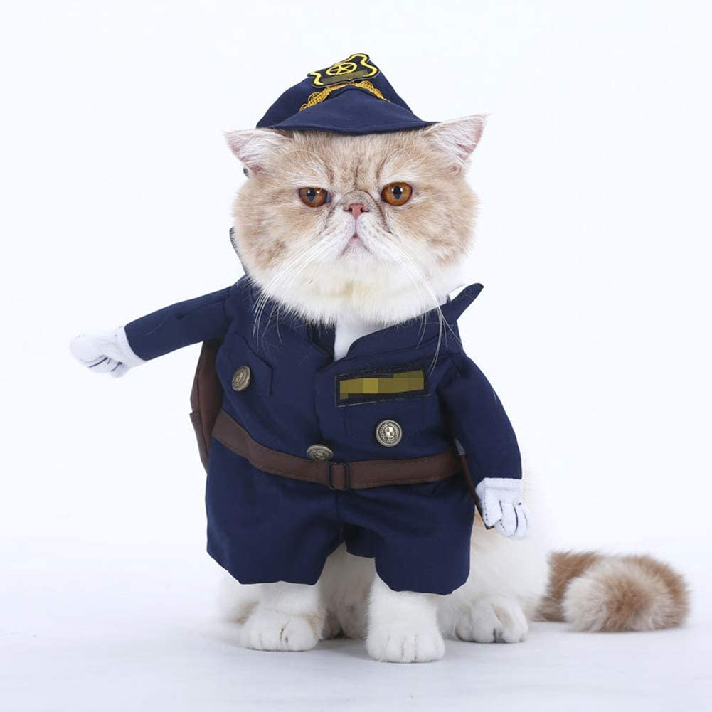 zhixing Halloween Pet Cat Dog Policeman T-shirt Vest Clothes Cosplay Costumes Outfit For Small Middle Large Other Pets Rabbit Poodle Bulldog Pomeranian Corgi Fancy Dress