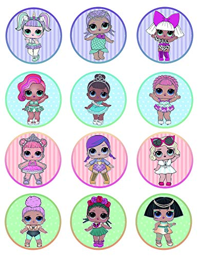 Price comparison product image LOL Dolls Cupcake Toppers Icing Sugar Paper (12 Rounds) on Sheet Edible Frosting Photo Birthday Cake Topper (Best Quality Printing)