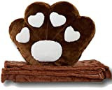Bamboozie Cat Paw Cushion with Thick Blanket Inside - Ideal Gift for Kids and Cat Lovers - Cute and Huggable Pillow - Open for Cosy Quilt (Chocolate)