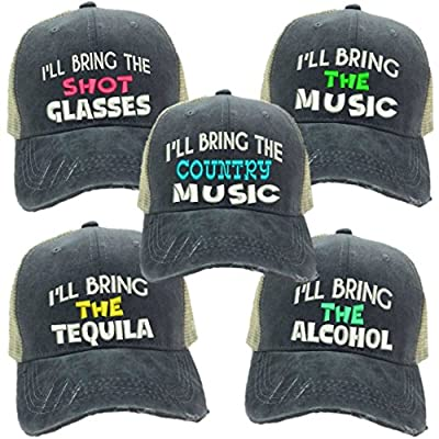 "Custom Distressed Funny Party Trucker Hat ""I'll Bring The Alcohol/Bad Decisions"" Embroidery"