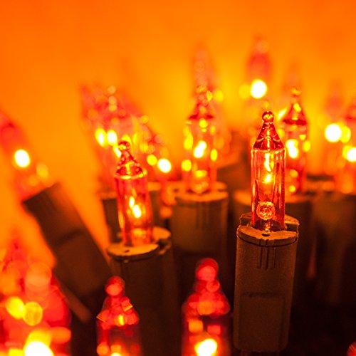 PureLock Amber/Orange Halloween String Lights - Christmas String Lights - Mini Christmas Lights, Green Wire (50 Lights, 25 ft) 25 Light Green Wire