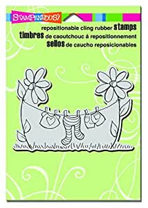 """Stampendous CRP279 Clothesline Cling Stamp, 6.5"""" by 4.5"""", Grey"""