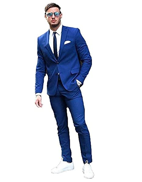 AK Beauty Mens Royal Blue 2 Pieces Notch Lapel Two Botton ...