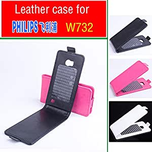For PHILIPS W732 Case, New High Quality Genuine Filp Leather Cover Case For PHILIPS W 732 case Free Shipping --- Color:Black