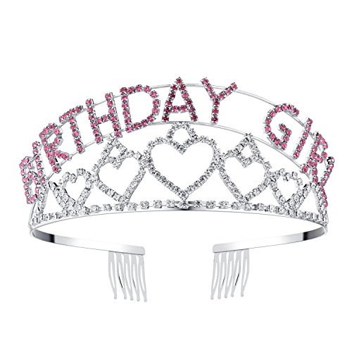 BABEYOND Crystal Rhinestone Tiara Headband Happy Birthday Girl Crown Comb Pin (Silver and Pink)