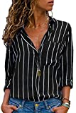 Cutiefox Blouses for Women Fashion Long Sleeve Button-Down Stripes Office Shirts M A-Black