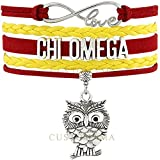 CHI OMEGA OWL Love Charm Bracelet Sorority Pledge College Student Gift Infiniti Jewelry
