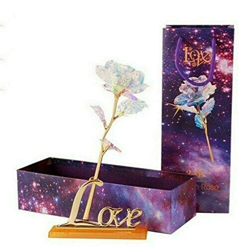 (Clearance Sale!DEESEE(TM)Galaxy Rose with Love Base Everlasting Crystal Mother's Day Gift The Best Choice)
