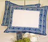 French Blue Decorative Bohemian Country Indian Floral Standard Pillow Sham