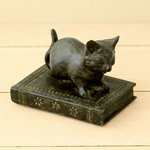 Animal Figurine Statue Home Decor - Time Concept Polyresin Liberty Cat Sitting Figurine - Home Decor - Antique Finish