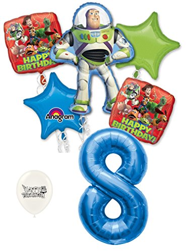 - 8th Birthday Toy Story Buzz Lightyear and Friends Party Decorations Balloon Bouquet Bundle
