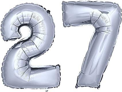 Folienballon Zahlenballon Luftballon Geburtstag Feier Hochzeit Silber 40cm Zahl
