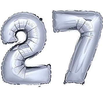 Folienballon Zahlenballon Geschenk Luftballon Geburtstag Silber 80cm Zahl 27
