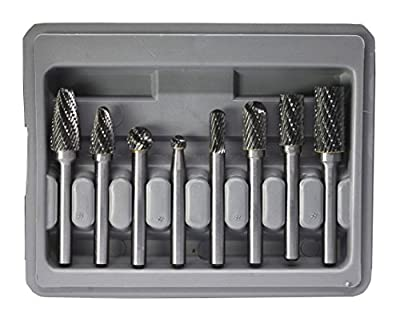 YUFU-8 Pcs Double Cut Solid Carbide Rotary Burr Set 1/4 Inch Shank For Die Grinder Drill , Metal Carving, Engraving,Drilling from LA HARDWARE INC