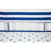 Little Bedding by NoJo Splish Splash Secure Me Crib Liner, Navy/White