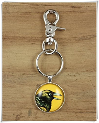 (no see long time Raven Keychain ,Yellow Gold Black Nature Bird,Key Chain of Animals,Dome Glass Jewelry, Pure Handmade)