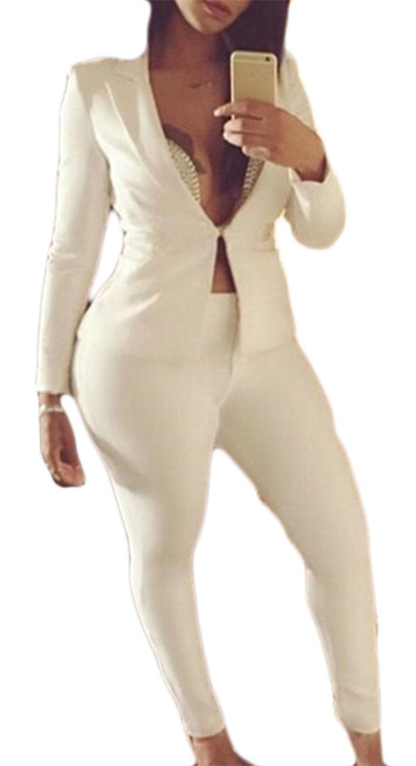 Pandapang Women's Business 2 Piece Solid Blazer Jacket and Pants Suit Sets White S