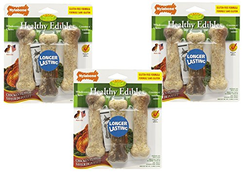 Nylabone Healthy Edibles Chicken Flavored Treat Bones with Vitamins - 9 Total (3 Packages with 3 Bones Each)