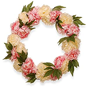 National Tree 24 Inch Floral Wreath with Pink and White Peony Flowers (RAS-HY71824W-P1) 17