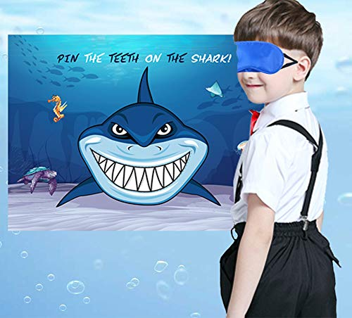 Pin The Teeth on The Shark Game - Kids Under the Sea/Pool/Beach Birthday/Baby Shower Party Supplies Decorations -