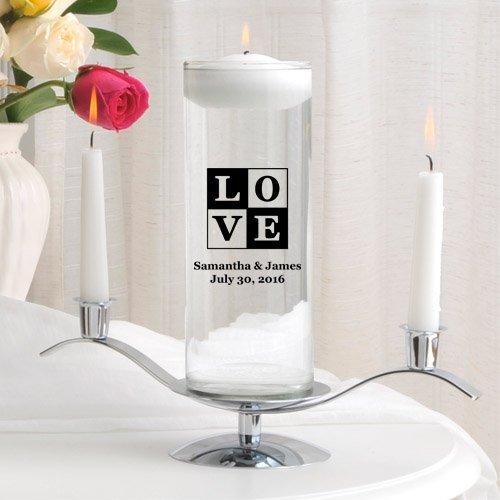 Personalized Floating Wedding Unity Candle Set- Love