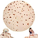 JISUSU Burritos Tortilla Blanket,Tortilla Warmer Blanket Realistic Soft Plush Comfort Round Food Blanket for Boys Girls Adults,Giant Human Taco Blanket-Diameter 60 inches